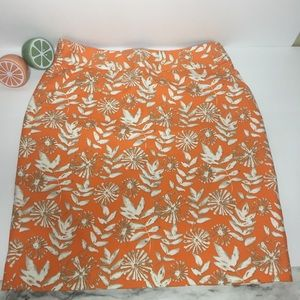 Rafaella Orange 🍊 Floral Print Skirt